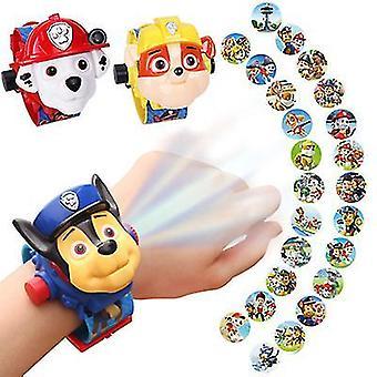 Koiran sininen hattu lasten sarjakuvaprojektio kello voi kääntää 24 kuvan projektio nähdä aika ja päivämäärä 3 1 monitoiminen