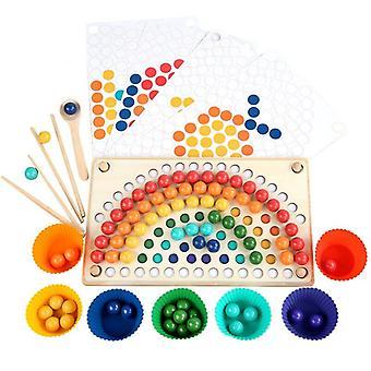Dzieci Drewniane zabawki Ręce Mózg Trening Klip Koraliki Rainbow Puzzle Board Math Game Prezent|