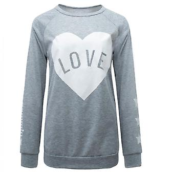 Women's Top Sweater Loose Long Sleeve Round Neck Printed Gray