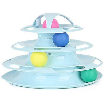 Cat Turntable Toys Interactive Round Pet Toys 4 Layers Plastic Ball Rocking Roller