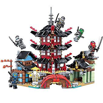 エアギッツ忍者のQian 737pcs DIY寺院は、レピニングブロックのおもちゃと互換性のある小さなバージョンのビルディングブロックセットを行きます