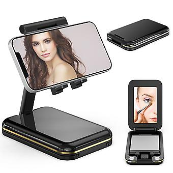 Cell Phone Stand For Desk, Phone Holder Cradle Dock With Make-up Mirror Foldable Storage Extendable Angle Height Adjustable Iphone Stand Compatible Wi