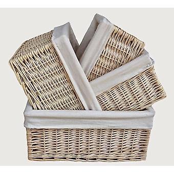 Weiß gesäumten Storage-Körbe-Set 4