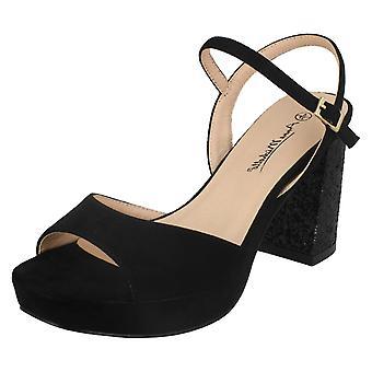 Ladies Anne Michelle High Glitter Heel Mule Sandals F10662