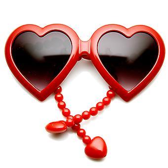 Womens überdimensioniert Perlen Arm Tempel Herz Form Sonnenbrillen