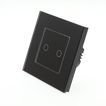 I LumoS Black Glass Frame 2 Gang 2 Way Touch LED Light Switch Black Insert