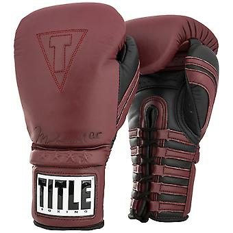 Title Boxing Ali Authentic Lace Up Leather Training Boxing Gloves - Maroon