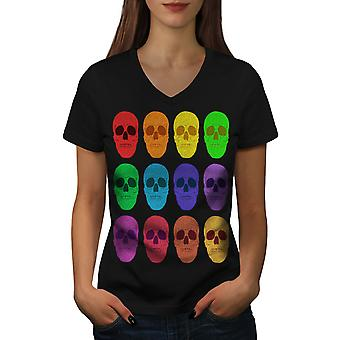 Red Colourful Death Women BlackV-Neck T-shirt | Wellcoda
