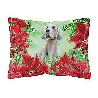Weimaraner Poinsettas Canvas Fabric Decorative Pillow