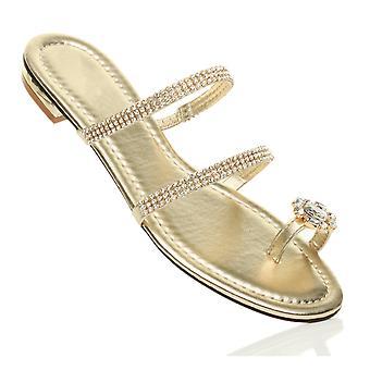 Ajvani womens plat lage hak diamante teen ring strappy flip flops sandalen