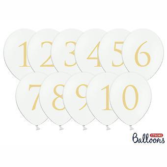 Ballons mariage le Pastel blanc Table numéros Gold 1-10