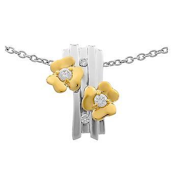 Orphelia plata 925 cadena con colgante de flores y enchapada en oro circonio ZH-6039/1