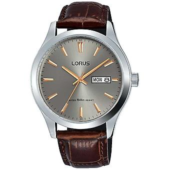 Lorus Stainless Steel Case Grey Dial Brown Leather Strap RXN61DX9 Watch