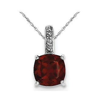 Natural Red Garnet 2.45 Carat (ctw) Dangling Pendant Necklace in Sterling Silver with Chain