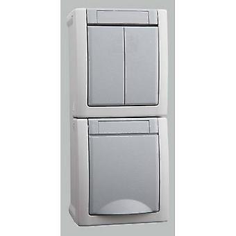 VIKO Wet room switch product range Switch/socket combo Pacific Grey 90591082-DE