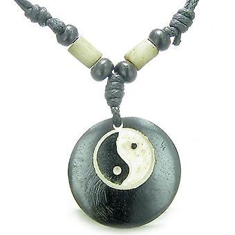 Amulet oryginalny tybetański Yin Yang bilans uprawnień kości naturalne magiczny wisiorek naszyjnik