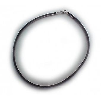 Choker collar rubber necklace 45 cm Black 2 mm thick rubber necklace with silver clasp