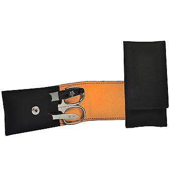 Caso de manicura seta anel VEGAN preto laranja 3 peças conjunto de manicure