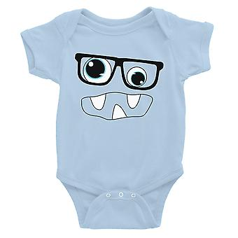 Monster With Glasses Baby Bodysuit Gift Sky Blue
