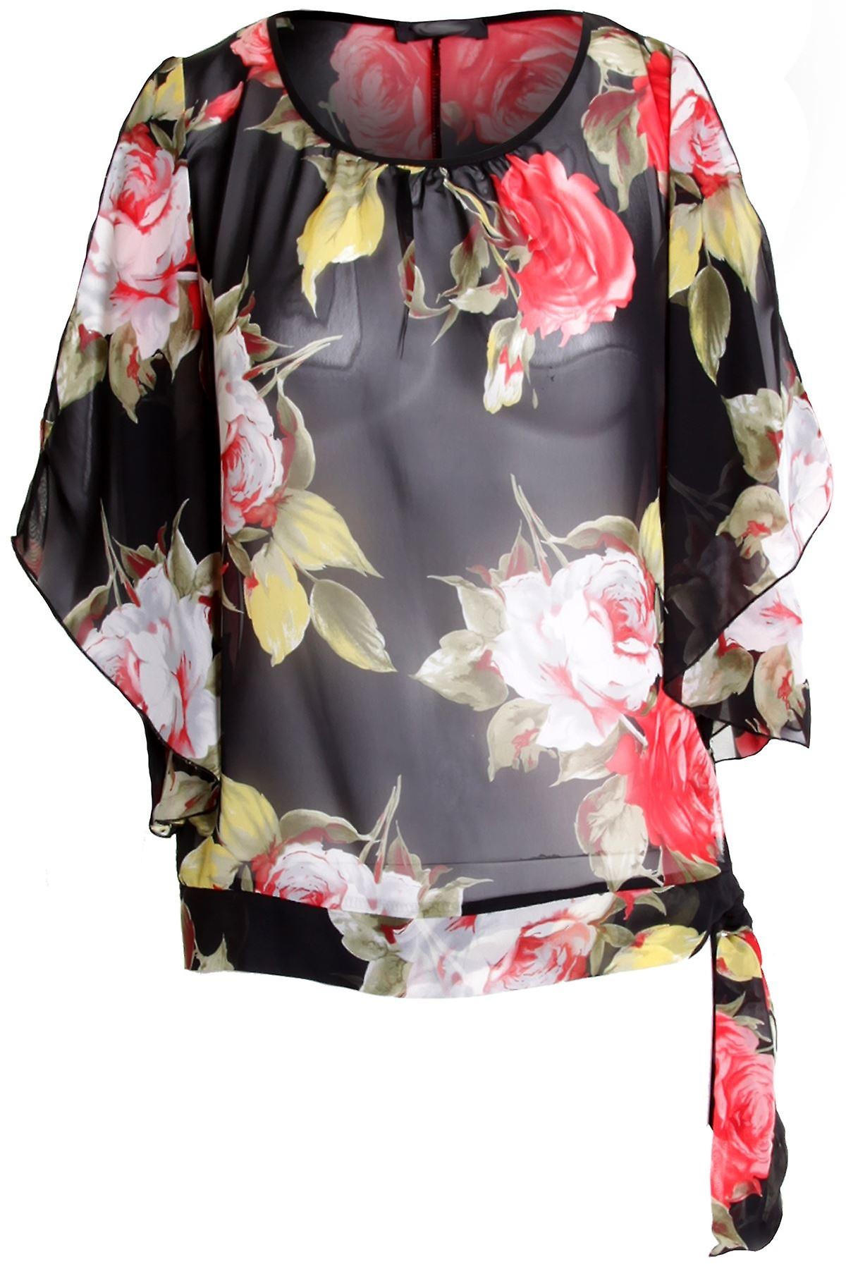 Ladies Chiffon Floral Flower Rose Petal Sleeveless Blouse Side Tie Up Womens Top