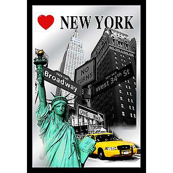 I love New York highlights wall mirror colour print, plastic framing black, wood look.
