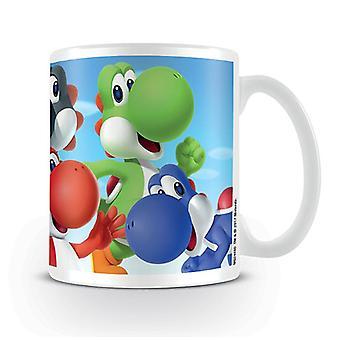 Super Mario Tasse Yoshi  weiß, bedruckt, aus Keramik.