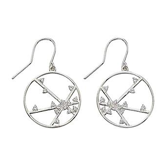 Elements Silver Spider Web Design Drop Earrings - Silver/Clear