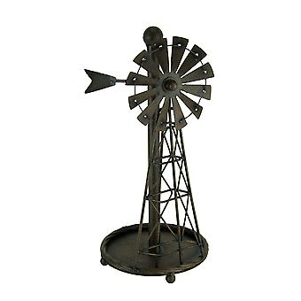 Rustic Distressed Metal Art Windmill Paper Towel Holder Kitchen Table Decor