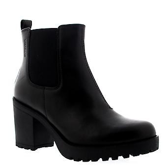 Womens Vagabond Grace Mid Heel Casual Leather Black Retro Ankle Boots