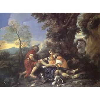 Herminia and Vafrino Tending the Wounded, MOLA Pier Francesco, 50x40cm