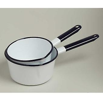 Emalia Enamel Saucepan With Lip 14 Cm White / Blue