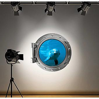Full Colour Dolphin Porthole Wall Sticker