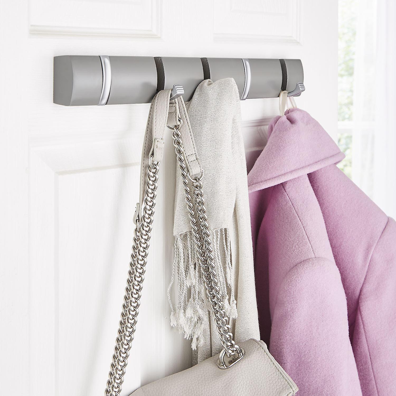 5 Door Hooks In Satin Chrome On Grey Mountable Board