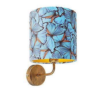 QAZQA oro de lámpara de pared Vintage con sombra 20/20/20 terciopelo mariposa de oro
