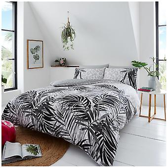 Leopard Leaves Modern Duvet Quilt Cover Reversible Bedding Set with Pillow Case