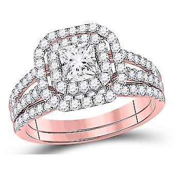 1.50 Carat (Color G-H, I1) Princess Cut Diamond Engagement Ring Bridal Wedding Set in 14K Rose Pink Gold