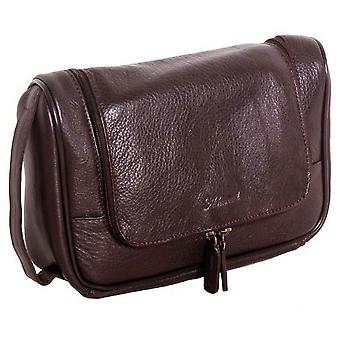 Ashwood Leather Chelsea Veg Tan Large Hanging Wash Bag - Brown