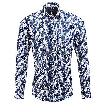 Guia Londres Marinha algodão sateen Soft Touch Fabric pavão padrão Mens shirt