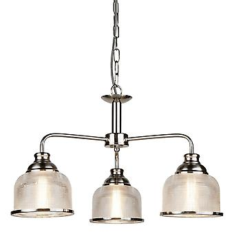 Sökarljus Bistro II Satin Silver 3 ljus hänge med Holophane glas nyanser