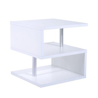 Homcom Wooden S Shape Cube Coffee Table 2 Tier Storage Shelves Display (White)