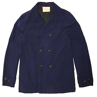 Scotch & Soda Double-Breasted Summer Caban Pea Coat, Electric Blue