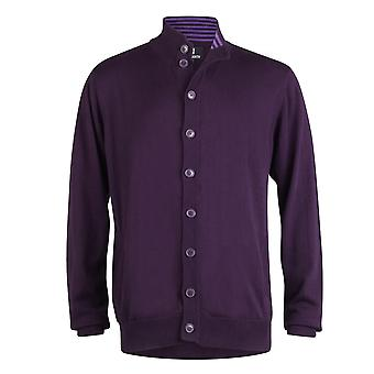 Peter Werth Long Sleeve Button Through Cardigan,Purple
