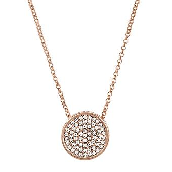 Belle et Beau Rose Or Plaqué Pave Round Crystal Necklace