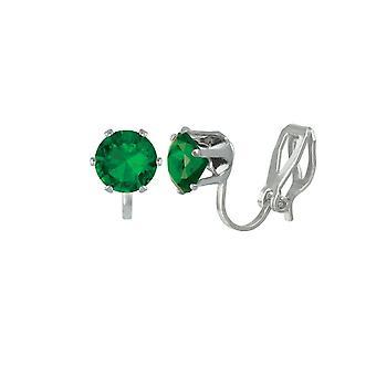 Wieczne kolekcji Tara Emerald zielony Crystal Silver Tone Stud klip na kolczyki