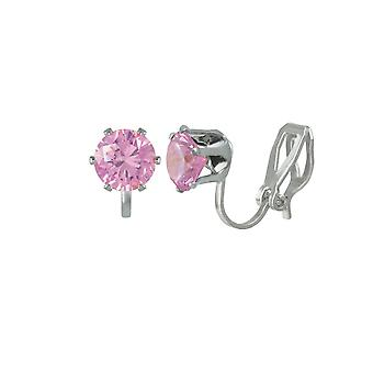 Éternelle Collection Tara Light rose Crystal Silver Tone Stud Clip boucles d'oreilles
