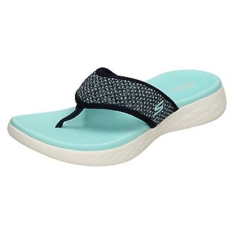 Dames Skechers On The Go 600 Toe Post Sandals Glossy 16150