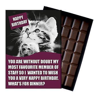 Divertido gato amante cumpleaños regalo para los hombres o las mujeres en caja tarjeta de felicitación de chocolate presente CDL214