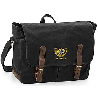 Kings egen Yorkshire Light infanteri veteran-licensierade brittiska armén broderade vaxad canvas Messenger Bag