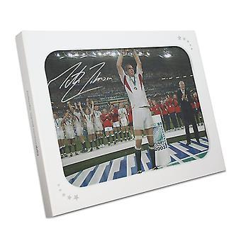 马丁约翰逊签署了英国橄榄球相片: 在讲台上。礼品盒