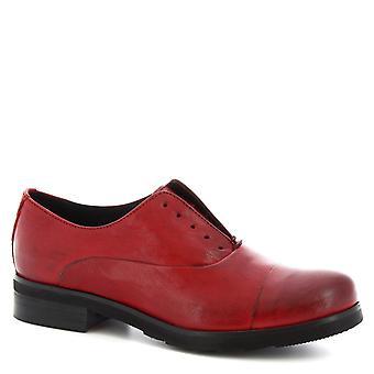 Leonardo skor kvinnor ' s handgjorda Derby laceless skor i rött kalvläder